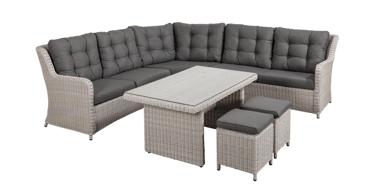 Allicante lounge/dining hoekset oud grijs
