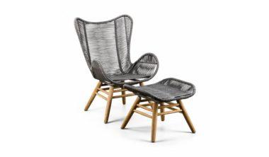 Kreta fauteuil met voetenbank